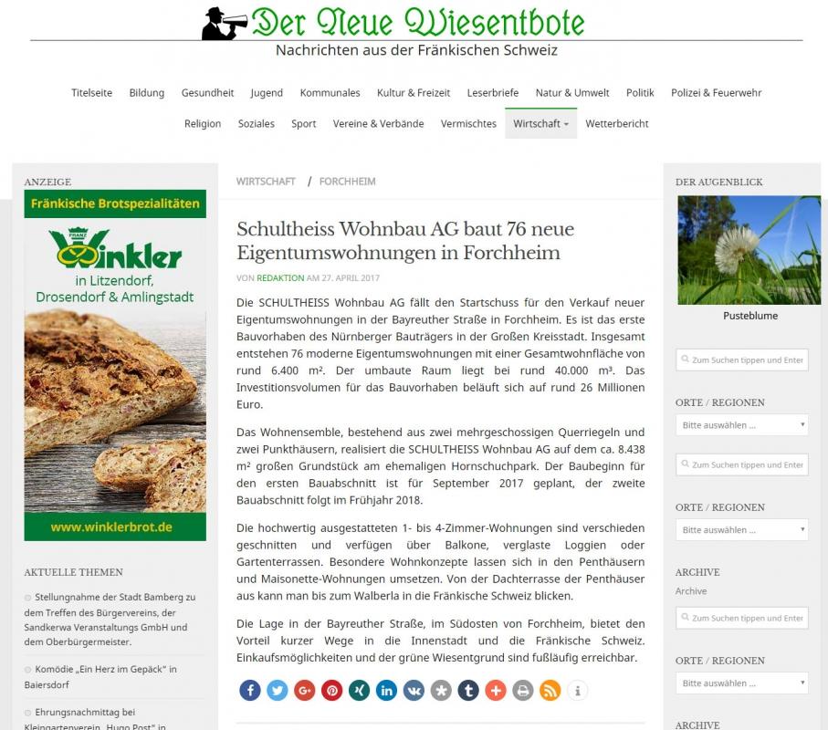 schultheiss wohnbau artikel a 1 4 ber das neue bauvorhaben hornschuch quartier der ag in forchheim am kavierlein
